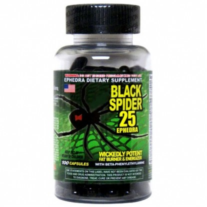 Жиросжигатели Cloma Pharma Black Spider 25 ephedra 100 caps  фото