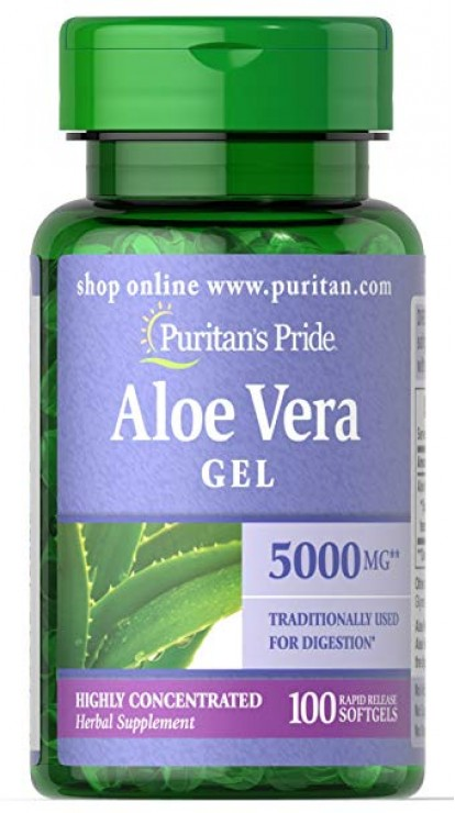 Здоровье и долголетие Aloe Vera Gel 5000 mg	100 softgels Puritan's Pride в Украине фото