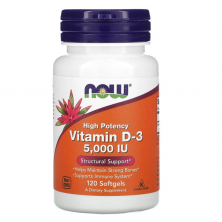 Vitamin D-3 5,000 IU Softgels 120 caps Now Foods