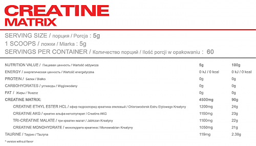 OSTROVIT CREATINE MATRIX 300 G состав фото